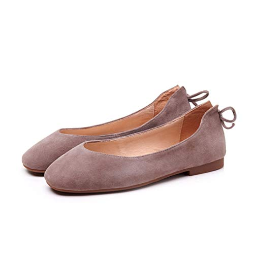 Women Round Toe Ballets Solid Color Comfortable Non Slip Fashion Loafers Flat Boat Shoes - Coach Ballet Flats