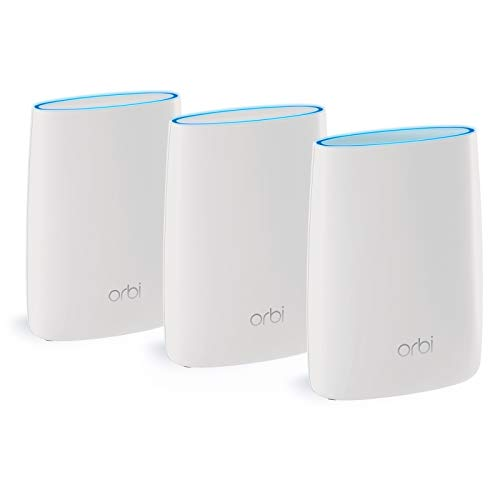 NETGEAR Orbi High Speed Mesh WLAN System (3.000 MBit/s Tri-Band Mesh Router + 2x Satellit Repeater, 525 m² Abdeckung, AC3000, RBK53-100PES) - Router-modem-kombination