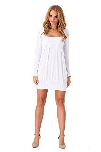 Futuro Fashion Magnifique Femmes Mini Robe Col Carré Tunique Manches Longues 2534 Blanc