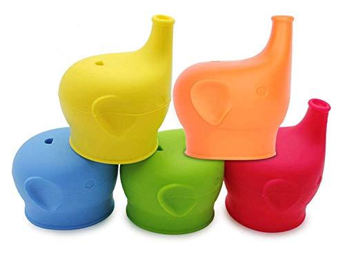 Taigood Sippy Cup Deckel Elefant Nase Form BPA FREI Weiche Silikon Cup Deckel Spill Leak Proof Cup Deckel für Babys Kleinkinder Kinder 5 Stücke - Nasen-cup