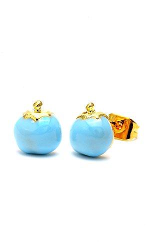 Chic-Net Brass Boucles d'oreille tomate 8mm Multicolore Or émail sans Nickel laiton bleu
