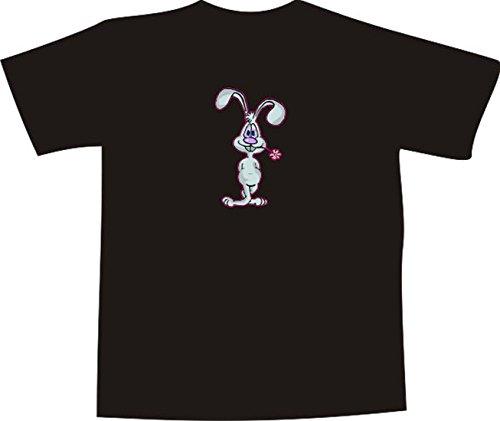 T-Shirt E933 Schönes T-Shirt mit farbigem Brustaufdruck - Logo / Grafik - Comic Design - verliebter Hase mit Blume im Maul Weiß