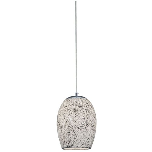 CRACKLE - 1 LIGHT PENDANT WHITE MOSAIC GLASS & SATIN SILVER SUSPENSION