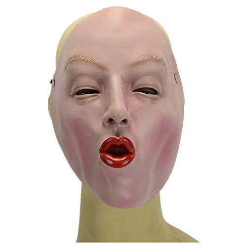WHLMJ Latex Maske Halloween Kostüm Ball Nachtclub Zinnoberrote Frau Maske