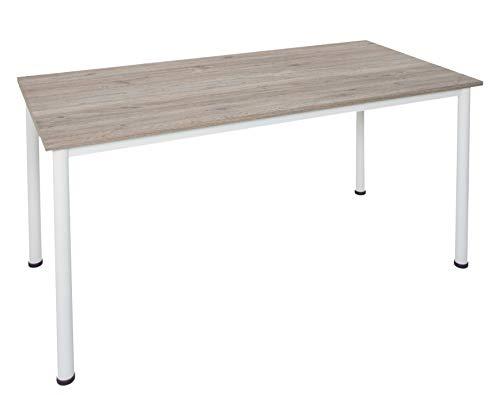 Shop Office Store GmbH Schreibtisch Eiche modern mit stabilen weißen Metallgestell in verschiedenen Größen verfügbar (160 x 80 cm)