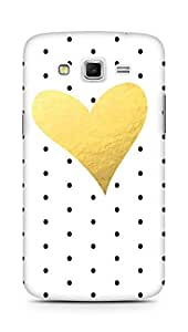 AMEZ designer printed 3d premium high quality back case cover for Samsung Galaxy Grand 2 G7102 (polka dot gold heart)