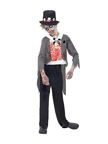 Smiffys, Kinder Jungen Zombie-Bräutigam Kostüm, Jacke, bedrucktes Mock Hemd, Hose und Hut, Größe: L, 44031