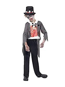 Smiffys Disfraz de Novio Zombi, Negro, con Chaqueta, Falsa Camisa Estampada, pantalón y