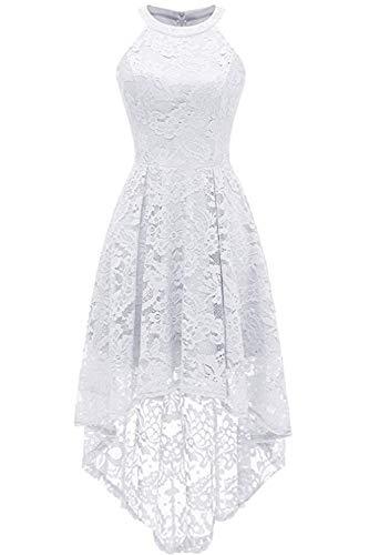 MisShow Damen Kleid Spitze vorne kurz hinten lang Brautjungfernkleider Ballkleider Schulterfreies Kleid Weiß S -