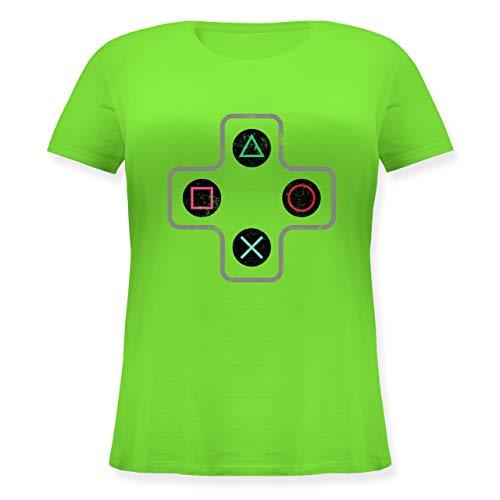 Nerds & Geeks - Gamer Controller - L (48) - Hellgrün - JHK601 - Lockeres Damen-Shirt in großen Größen mit Rundhalsausschnitt