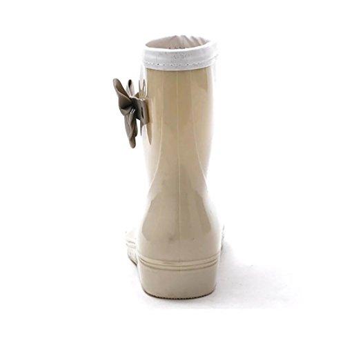 LvRao Frauen Mittel Hoch Gummischuhe Damen Gummistiefel Wasserdichte Regen Schuhe Boots Stiefel Kurz Khaki