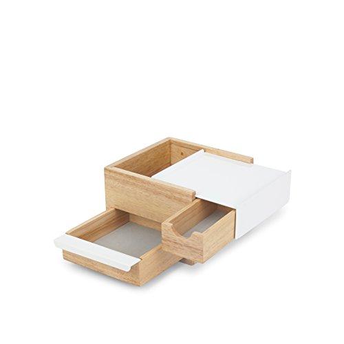 Umbra Stowit Mini Design Schmuckkasten - moderne Schmuck Box mit Geheimfächern für Ringe, Armbänder, Uhren, Halsketten, Ohrringe und Accessoires, Holz / Metall, Weiß / Natur