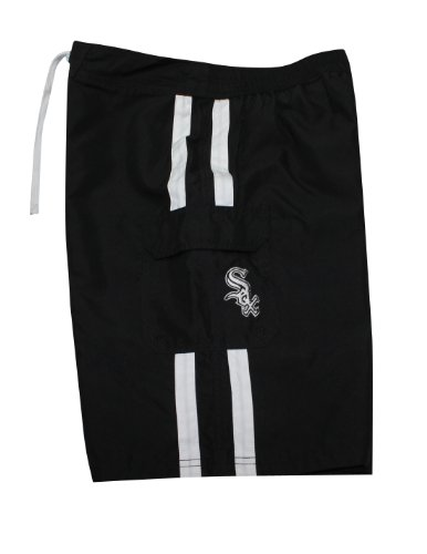 feed MLB Hommes Chicago Blanc SoxAthletic Sport Shorts de bain Black
