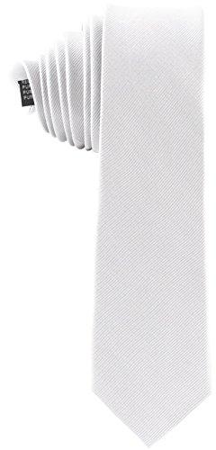 ADAMANT® Seidenkrawatten in verschiedenen Farben | 100% Reine Seide | Moderne uni Krawatten für Business und Alltag (weiß)