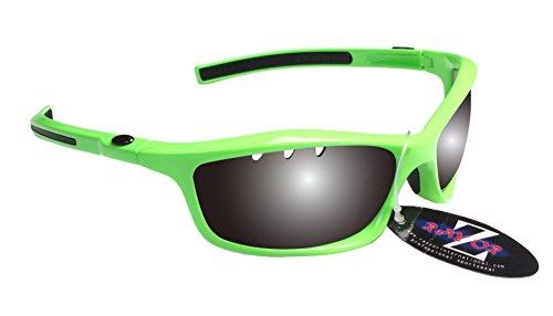 RayZor Professional leichte UV400grün Sports Wrap Sailing Sonnenbrille, mit einem belüfteten Smoked gespiegeltem blendfreiem Objektiv