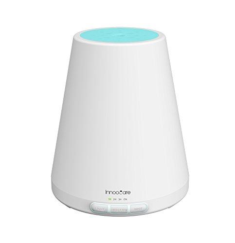 InnooCare 300ml Humidificador Aromaterapia Difusor de Aceites Esenciales Ultrasónico Difusor de Aroma 7 Colores LED 4 Temporizadores Auto Apaga Ajuste de Vapor Para Oficina Dormitorio Yoga Baño