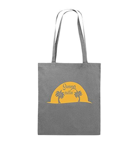 Comedy Bags - Summer callin - PALMEN - Jutebeutel - lange Henkel - 38x42cm - Farbe: Schwarz / Pink Dunkelgrau / Gelb