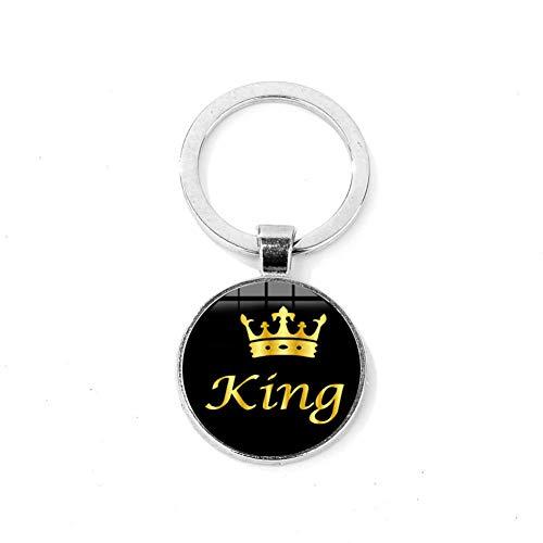 d Kreative Seine Königin Ihr König Schlüsselanhänger Silber Bronze Überzogene Legierung Lange Schlüsselanhänger Tag Geschenk Paar Brief Schlüsselbund ()