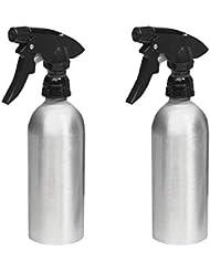 mDesign Sprühflasche leer im 2er-Pack – nachfüllbarer Zerstäuber aus Aluminium für Haushalt und Garten – ideal als Blumensprüher geeignet – gebürstet/schwarz