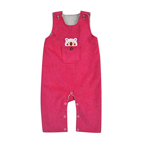 LABIUO 0-24M Baby Schlafanzug, Jungen Body Niedlicher Cartoonbär Jumpsuit Baby Kleidung(Pink,0-6 Monate/73) -