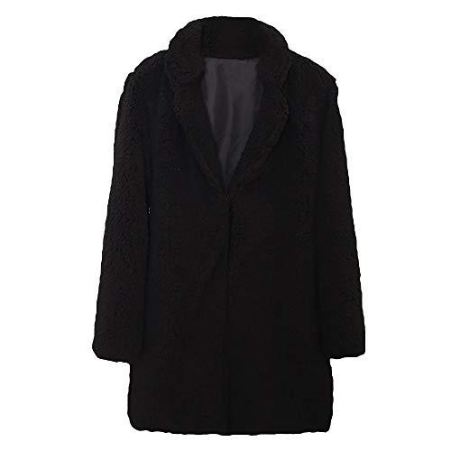 Preisvergleich Produktbild Heligen Frauen Herbst Winter Casual Solid Color Kerbe Kragen urn-down Kragen Langarm Faux Pelzmantel Outwear Bluse