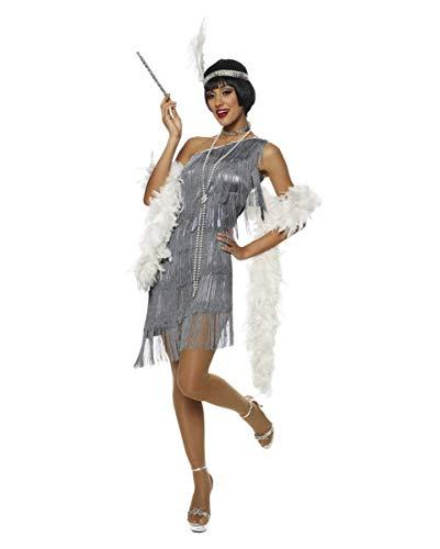 Foxy Kostüm Flapper - Horror-Shop Charleston Kostüm mit Kopfschmuck L 44-46