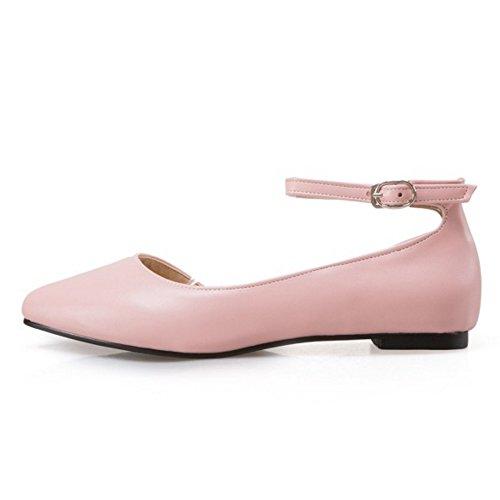 COOLCEPT Femme Mode Sangle De Cheville Laniere Sandales Plat Bout Ferme D'orsay Chaussures Taille Rose