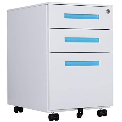 Loywe Aktenschränke, Büro-Rollcontainer,Rollcontainer, inkl. 3 Schübe Bürocontainer mit Anti-umkippen-mechanismus für A4, Mobilen, Abschließbar ; 60cm H, JLB021-B - Montiert Aktenschränke Komplett