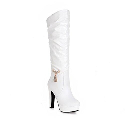 AgooLar Damen Ziehen Auf Hoher Absatz Pu Leder Rein Hoch-Spitze Stiefel Weiß