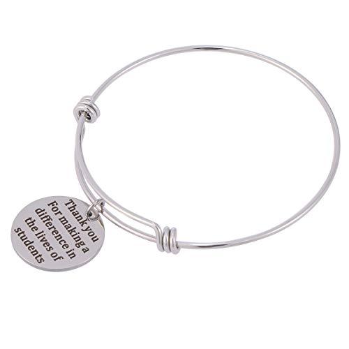 Imagen de amosfun graduation charm bracelet best friends bangle pulsera inspirada brazalete pulseras regalos de amistad joyas gracias por hacer una diferencia en la vida de los estudiantes