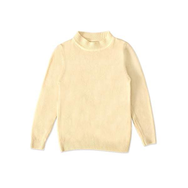 MEIbax Moda Casual Color sólido Baby Girl Suéter de Punto de Cuello bajo Niños Top de Manga Larga Suéter de Punto Niñas… 1