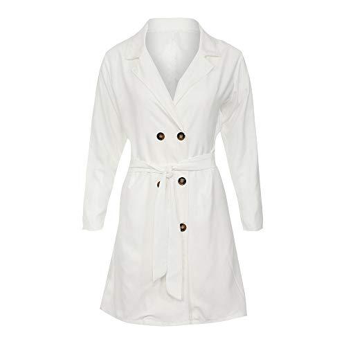 ESAILQ Damen Langarm Knopf Solide Stilvolle Duster Blazer Jacke Mantel(M, Weiß) d2d306b35c