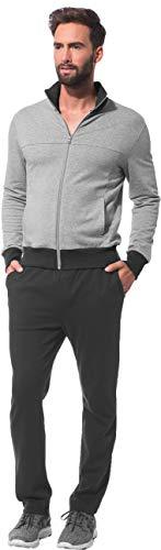Morgenstern Hausanzug Herren aus Baumwolle Freizeit Anzug Set mit Freizeit Jacke Sport Hose Cotton zweifarbig Grau-Melange Haus Anzug Grösse XL