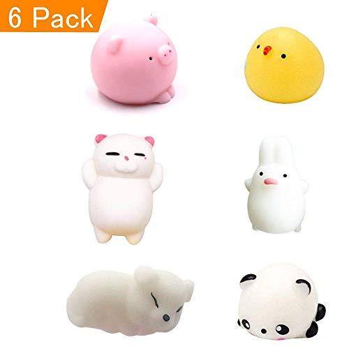 Eposeedor Squishy Kawaii Mini, Mochi Squishy Panda Conejo Gato Perro Pato Cerdo, Mochi Squishy Kawaii Juguetes Antiestrés Niños Adultos 6 Pack