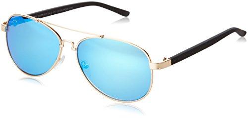 brille Sunglasses Mumbo Mirror, Gold (Gold/Blue 4463), One size (Blue Aviator Hut)