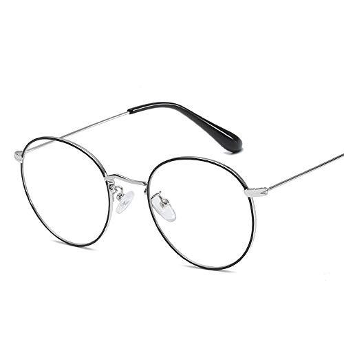 Gläser Mode Retro Brillengestell Runde Rahmen Metall Plain Brille Damen Brillengestell (Color : 01Sliver, Size : Kostenlos)