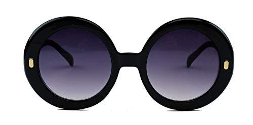 amashades Vintage Classics Große runde Damen Retro Sonnenbrille im Designer Look 60er 70er Jahre dicker breiter Rahmen Bügel PR93 (Mod.2: Schwarz)