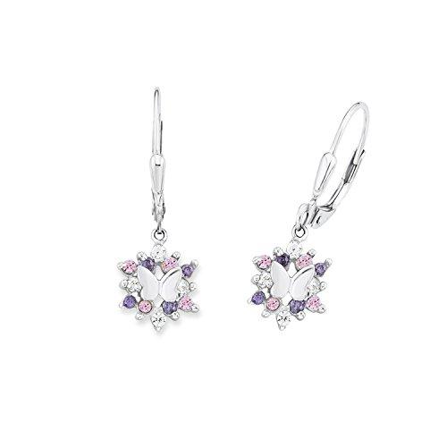 Prinzessin Lillifee Kinder-Ohrhänger Mädchen 925 Silber Schmetterlinge Zirkonia lila rosa
