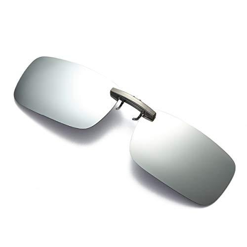 Nosii Quadratische polarisierte rahmenlose Clip On Sonnenbrillengläser für verschreibungspflichtige/Myopie-Brillen im Freien/Fahren (Color : White Mercury)