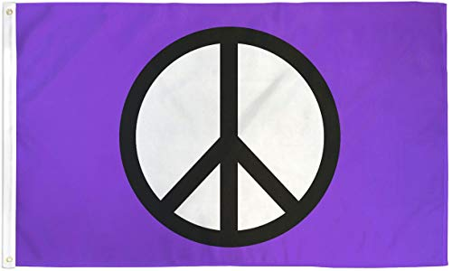3x5 Peace Flag Purple Peace Sign Symbol Hippie Banner Party Pennant (Banner Pennant Purple)