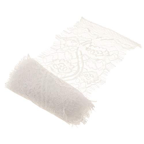 F Fityle 3 Yards Spitzenband Spitze Nähen Deko Spitzenbesatz Spitzen Borte Lace Trim DIY Hochzeit Kleidung Nähen und Basteln - Weiß B -