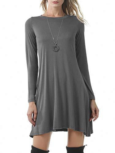 Durio Damen Kleider Langarm A-Linie Kleid T-Shirt Kleid Lose Skaterkleid Basic Freizeit Kleider Grau EU 38(Herstellergröße S) -