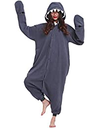Kigurumi Pijama Animal Entero Unisex para Adultos con Capucha Cosplay Pyjamas Tiburón Negro Ropa de Dormir
