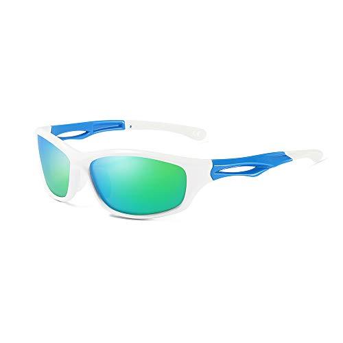 AMZTM Polarisierte Sport Sonnenbrille für Herren & Damen, Laufen Radfahren Angeln Fahren Verspiegelt Sportbrille, Unzerbrechliche Flexibilität TR90 Rahmen(White Frame, Green Lens)