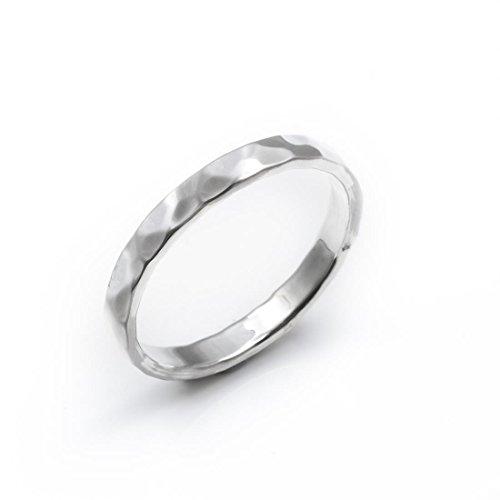 Silverly Frauen .925 Sterling Silber gehämmert Fertig 3mm Band Ring