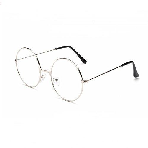 rosenice redondo gafas Unisex Retro lente transparente gafas Ultra Light para cosplay (plata)