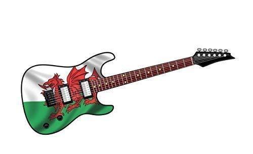 Cool Eléctrico Guitarra Diseño con Dragón de Gales Wales Cymru Bandera Impreso...