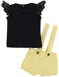 Conjuntos Para Bebé NiñAs DRESS Start® Camiseta Tops Linda Liso Sin Mangas De Encaje NiñA Princesa Fiesta + Pantalones De Peto Cortos…