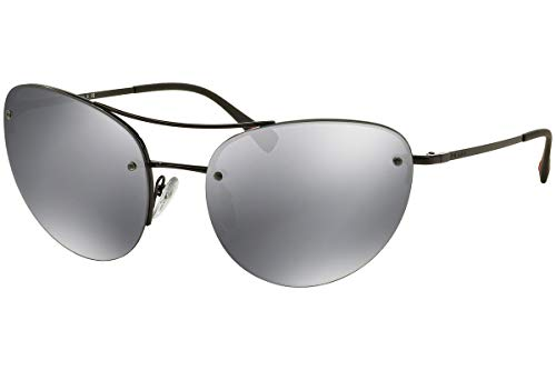 Prada Frau PS51RS Sonnenbrille w/Hellgrau Spiegel-Objektiv 7AX5L0 SPS51R Schwarz groß