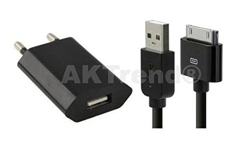 AKTrend® - 2in1 Schwarz USB Sync Kabel Datenkabel Ladekabel + Usb Haus Netzteil für Apple iPhone 3G 3GS 4 4G 4S , iPad 1 2 3 , iPod Classic Touch Nano 1G 2G 3G Photo Mini Usb Kabel AKIP4-01 (Schwarz) (Touch Ac Adapter Ipod)